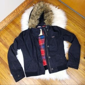 Hollister Navy Faux Fur Hooded Jacket Size Large